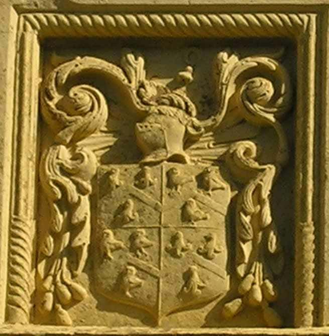 Daunt / de Olepenne coat of arms from the south front of Owlpen Manor