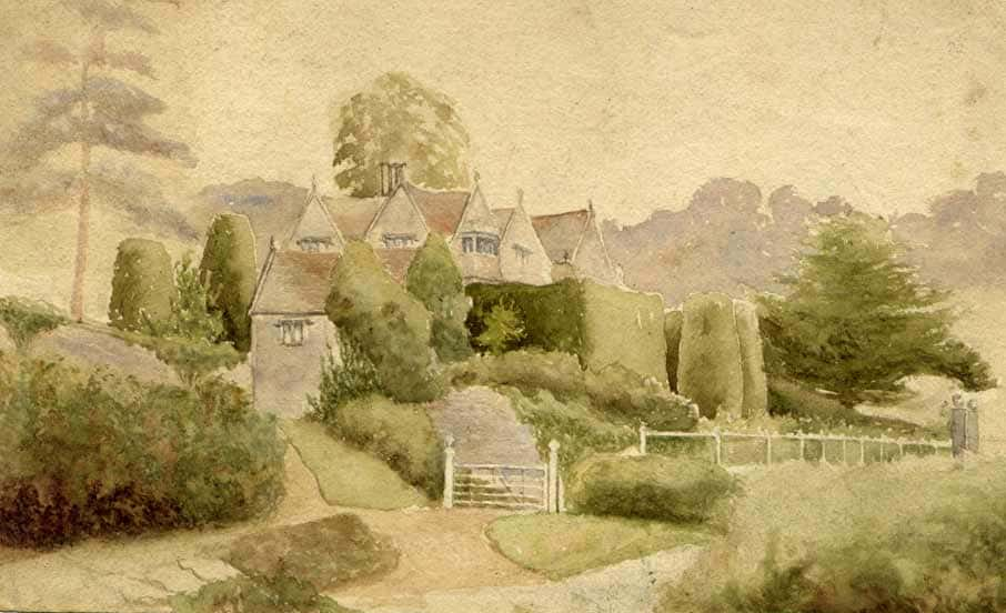 Owlpen Old Manor; watercolour by the sculptor George Ward, RA (1853-1933)