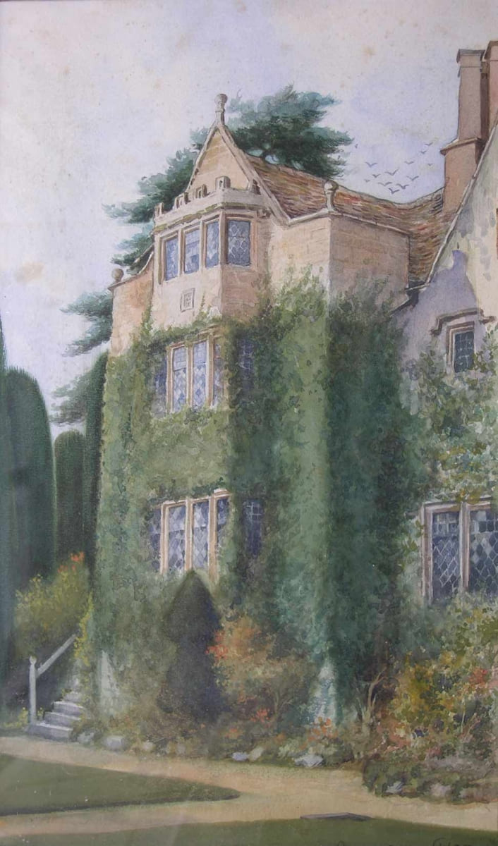 West wing of the manor, built by Thomas Daunt II; watercolour by W.G. Rich, c. 1880