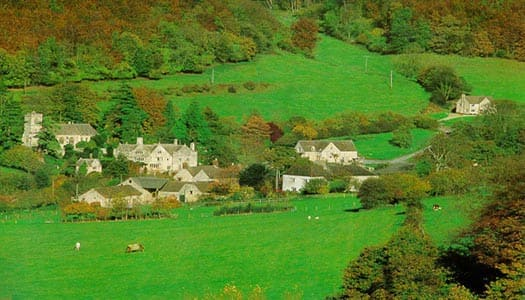 The Owlpen valley with its cottages in early autumn